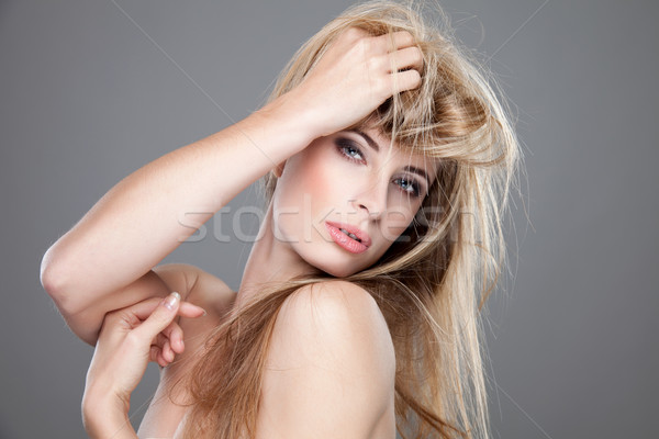 Beautiful woman with long messy hair Stock photo © tommyandone