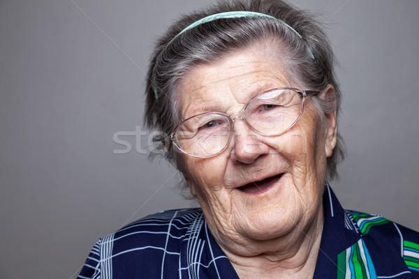 Retrato gafas primer plano mujer cara Foto stock © tommyandone