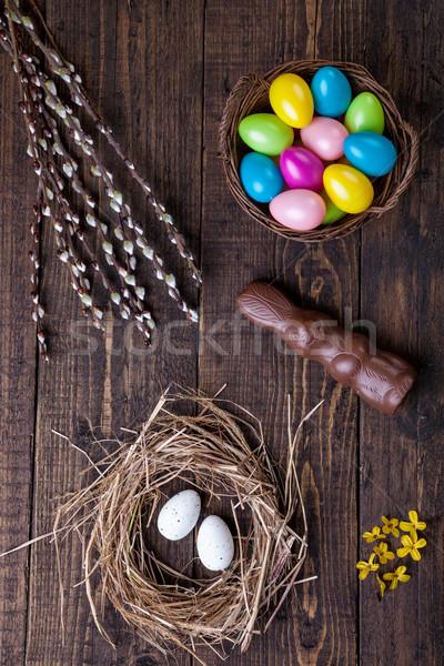 Stockfoto: Paaseieren · houten · traditioneel · voorjaar · konijn · chocolade