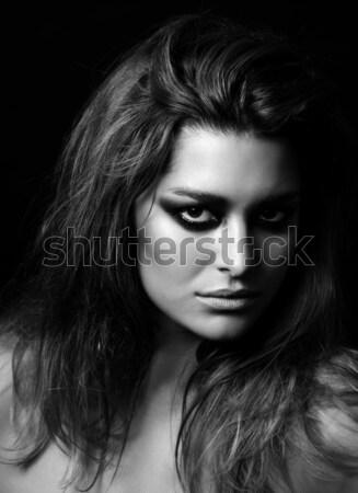 Schoonheid zwart wit donkere oog make-up vrouw Stockfoto © tommyandone