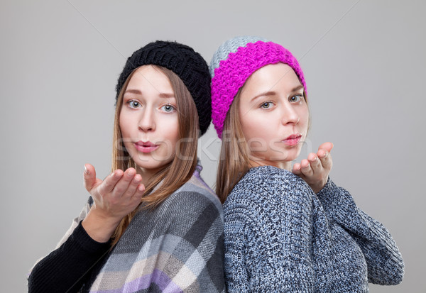Gêmeo irmãs quente inverno roupa retrato Foto stock © tommyandone