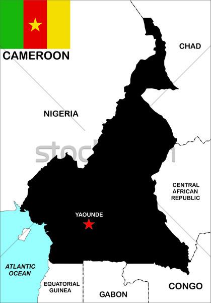 Kamerun Pokaż duży rozmiar polityczny ilustracja Zdjęcia stock © tony4urban