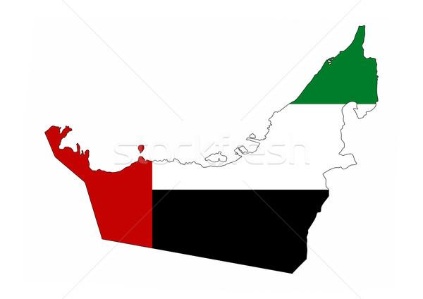 Birleşik Arap Emirlikleri bayrak harita ülke biçim Stok fotoğraf © tony4urban
