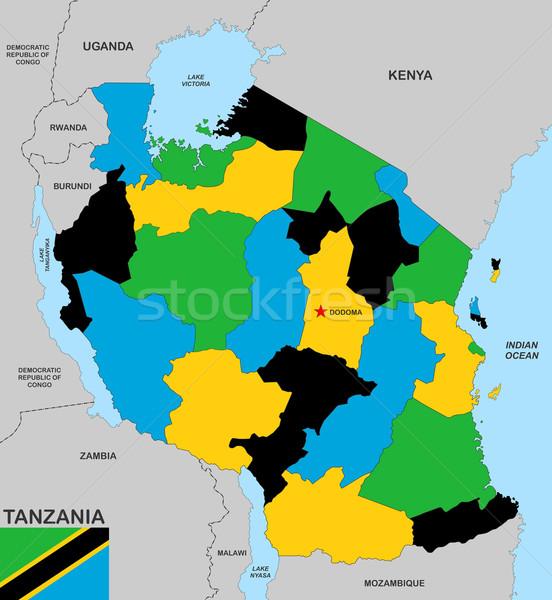 Танзания карта большой размер политический флаг Сток-фото © tony4urban