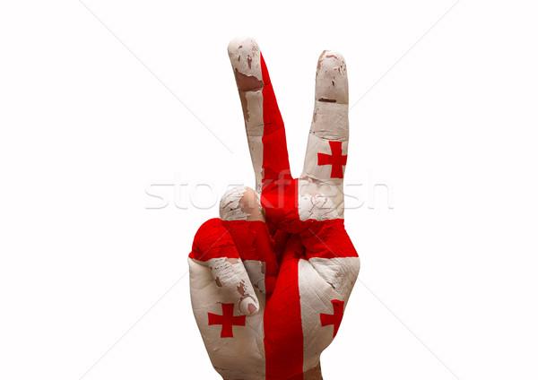 Kéz készít felirat Grúzia vidék zászló Stock fotó © tony4urban