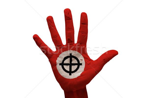 Dłoni celtic krzyż człowiek strony malowany Zdjęcia stock © tony4urban