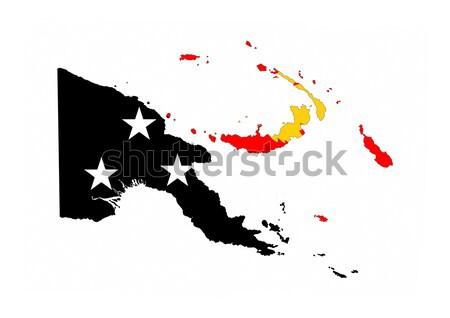 Папуа-Новая Гвинея стране флаг карта форма текста Сток-фото © tony4urban