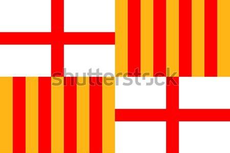 Barcelona zászló nagy méret Spanyolország város Stock fotó © tony4urban
