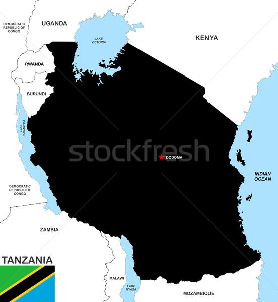 Танзания карта большой размер черный флаг Сток-фото © tony4urban