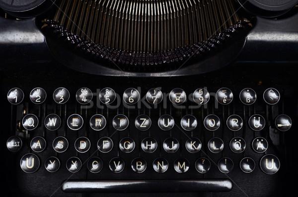 Stockfoto: Vintage · schrijfmachine · toetsenbord · oude · zwarte · sluiten