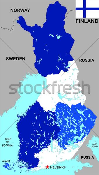 Finlândia mapa grande tamanho político ilustração Foto stock © tony4urban