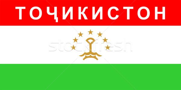 Zászló Tádzsikisztán nagy méret illusztráció vidék Stock fotó © tony4urban