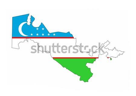 Üzbegisztán vidék zászló térkép forma szöveg Stock fotó © tony4urban