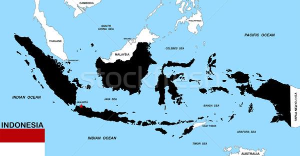 Endonezya harita büyük boyut siyah bayrak Stok fotoğraf © tony4urban