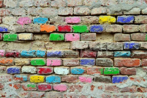 Színes téglák öreg grunge fal Stock fotó © tony4urban