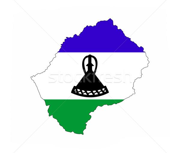 Lesotho zászló térkép vidék forma Stock fotó © tony4urban
