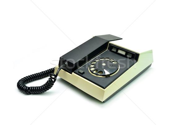 Klasszikus telefon fehér öreg műanyag kommunikáció Stock fotó © tony4urban
