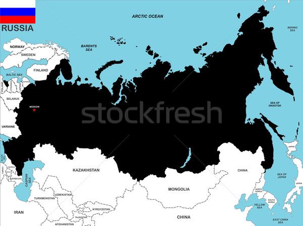 Rusland kaart groot maat zwarte vlag Stockfoto © tony4urban