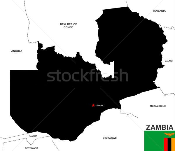 Zambiya harita büyük boyut siyah bayrak Stok fotoğraf © tony4urban