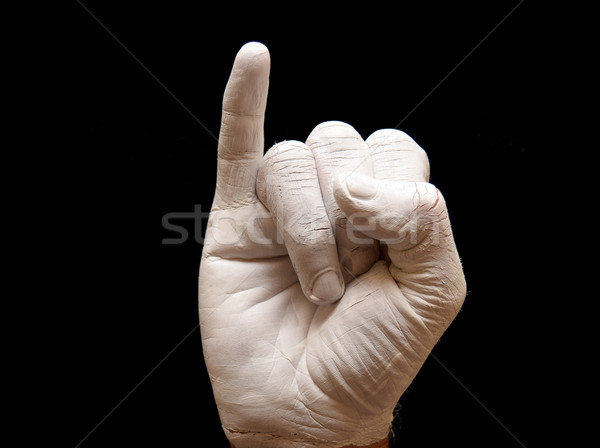 Mektup i işaret dili amerikan alfabe eller boyalı Stok fotoğraf © tony4urban