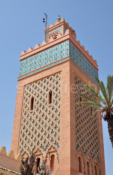Cami şehir Fas işaret mimari seyahat Stok fotoğraf © tony4urban