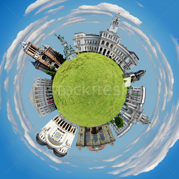 Arad tiny planet Stock photo © tony4urban