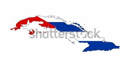 Küba bayrak harita ülke biçim Stok fotoğraf © tony4urban