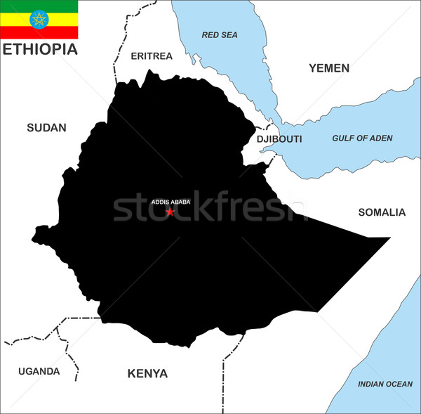 Ethiopie carte grand taille pays noir Photo stock © tony4urban