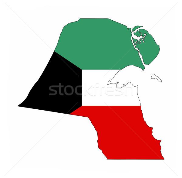 Кувейт флаг карта стране форма Сток-фото © tony4urban