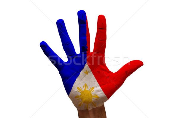 Dłoni banderą Filipiny człowiek strony malowany Zdjęcia stock © tony4urban