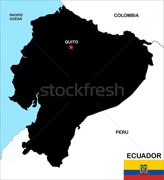 Ecuador kaart groot maat zwarte illustratie Stockfoto © tony4urban