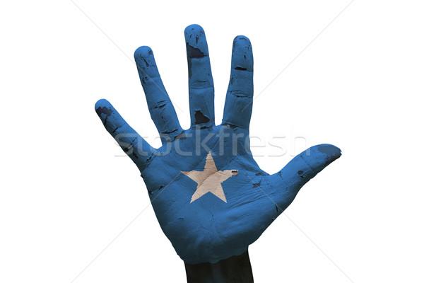手のひら フラグ ソマリア 男 手 描いた ストックフォト © tony4urban