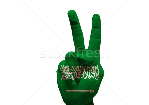 Mano signo grunge bandera pintado Foto stock © tony4urban