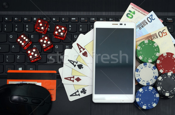 Online casino games computer laptop Stockfoto © tony4urban