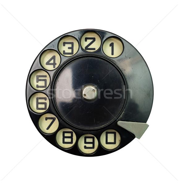 Vintage composer disque noir téléphone blanche Photo stock © tony4urban