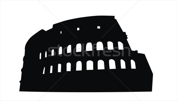 Колизей большой размер черный силуэта иллюстрация Сток-фото © tony4urban
