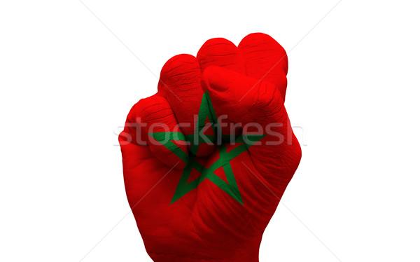 Zászló ököl férfi kéz festett vidék Stock fotó © tony4urban
