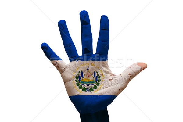 Palma bandera El Salvador hombre mano pintado Foto stock © tony4urban