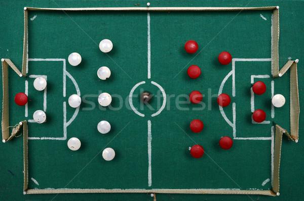 Ev yapımı futbol sahası eski komünist çağ oyuncak Stok fotoğraf © tony4urban