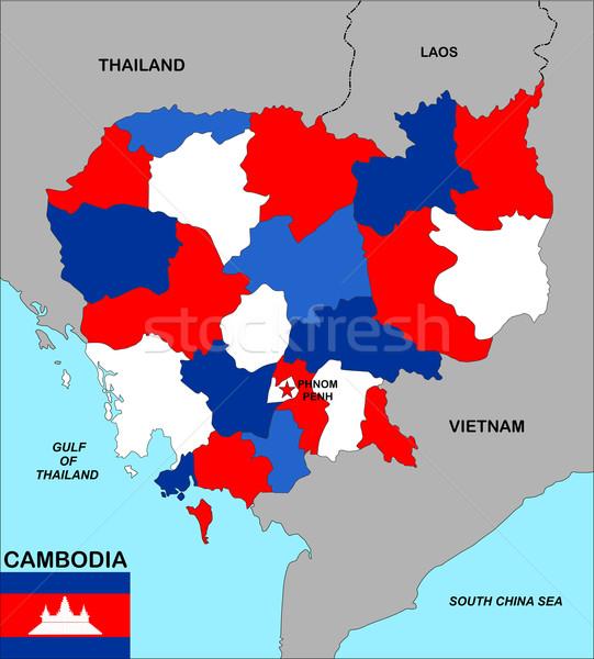 Сток-фото: Камбоджа · карта · большой · размер · политический · флаг