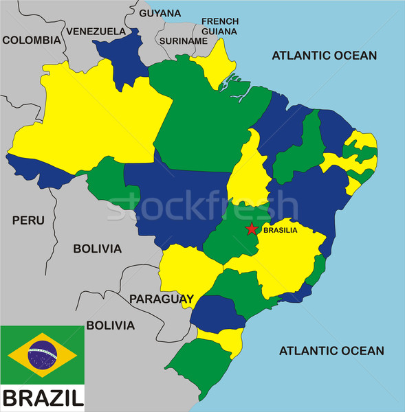 Brezilya harita siyasi ülke bayrak bölgeler Stok fotoğraf © tony4urban