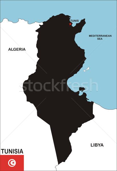 Tunísia mapa político país bandeira ilustração Foto stock © tony4urban