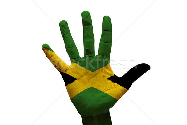 Stockfoto: Palm · vlag · Jamaica · man · hand · geschilderd