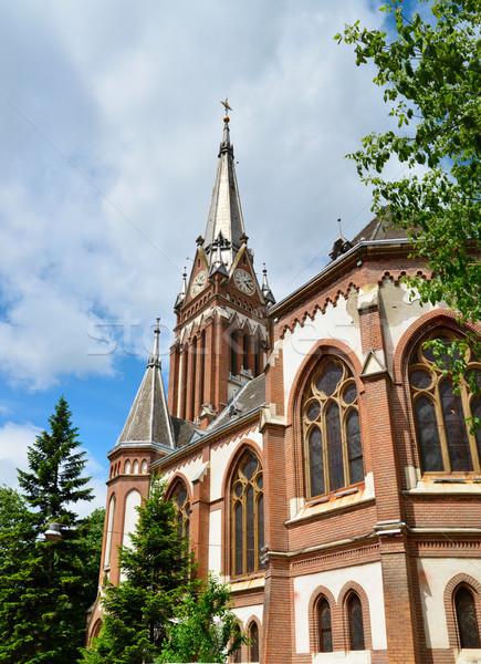 Rojo iglesia ciudad mojón arquitectura Foto stock © tony4urban