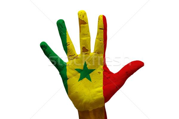 手のひら フラグ セネガル 男 手 描いた ストックフォト © tony4urban
