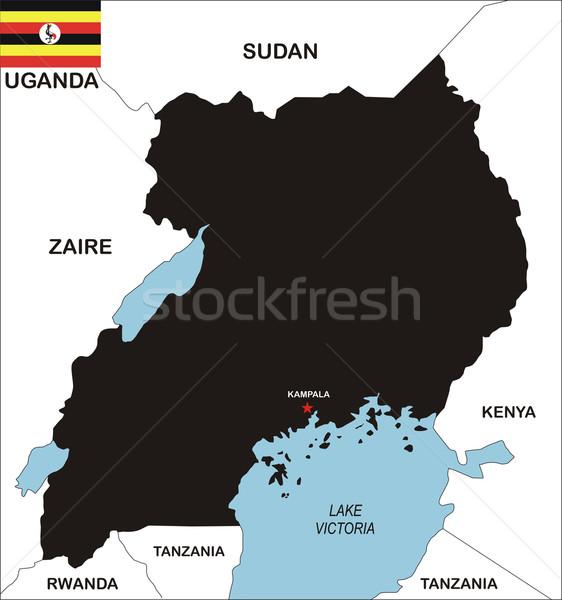 Uganda térkép politikai vidék zászló illusztráció Stock fotó © tony4urban