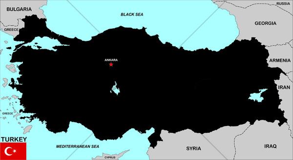 Turchia mappa grande dimensioni nero bandiera Foto d'archivio © tony4urban