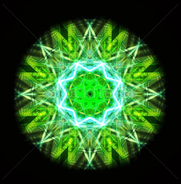 Kaleydoskop yeşil bilgisayar oluşturulan çiçek deseni Stok fotoğraf © tony4urban