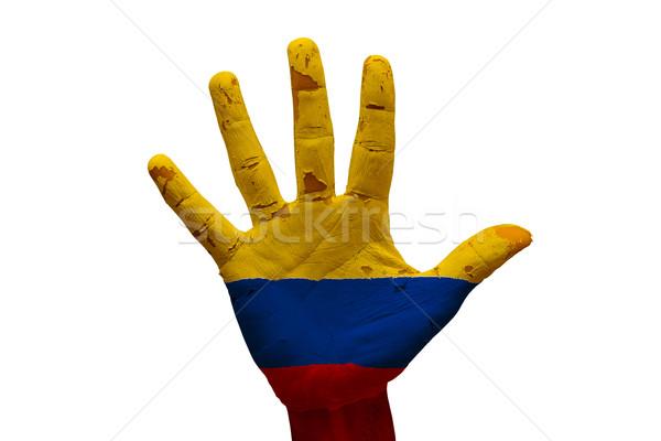 Pálma zászló Colombia férfi kéz festett Stock fotó © tony4urban