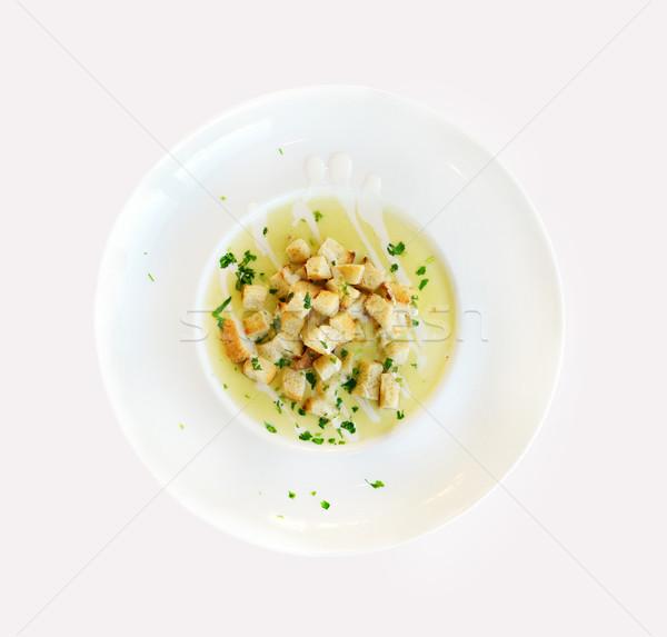 Crema sopa placa cerca detalle Foto stock © tony4urban